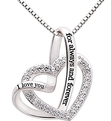 "ALOV Jewelry Sterling Silver ""I love you for always and forever"" Love Heart Cubic Zirconia Necklace"