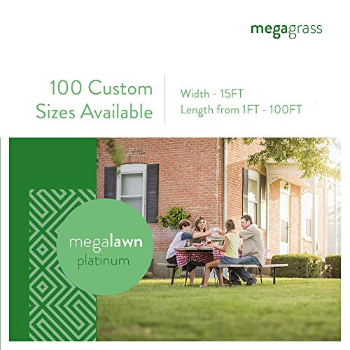 MEGAGRASS 15 x 68 Ft MegaLawn Platinum Artificial Grass for Lawn Landscaping and Pets - Eco-Friendly Indoor and Outdoor Synthetic Fake Green Grass Turf Rug Mat