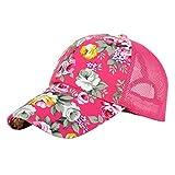 ZLSLZ Women's Mesh Lace Flower Print Sun Hat Floral Trucker Baseball Cap Hat (3pink)