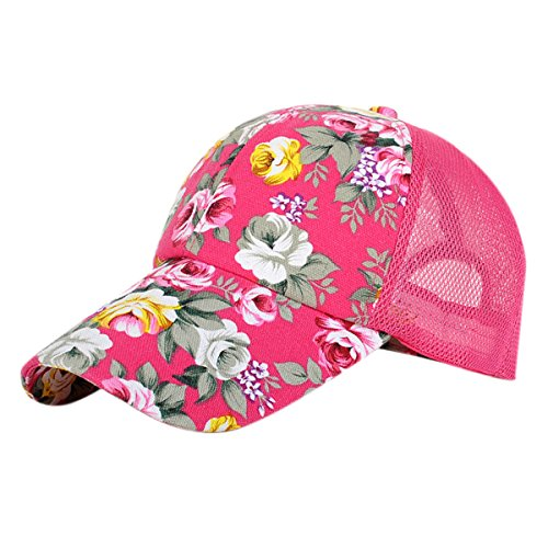 ZLSLZ Women's Mesh Lace Flower Print Sun Hat Floral Trucker Baseball Cap Hat (3pink) by ZLS