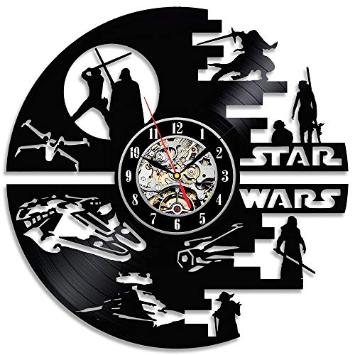Star Wars Death Star Designed Wall Clock - Decorate Your Home with Modern Large Darth Vader and Luke Skywalker Art - Best Gift for Friend, Man and boy