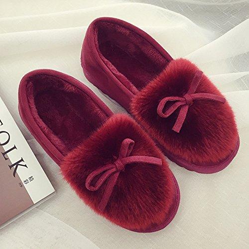 LaxBa Femmes Hommes Chaussures Slipper antiglisse intérieur rouge vin 37