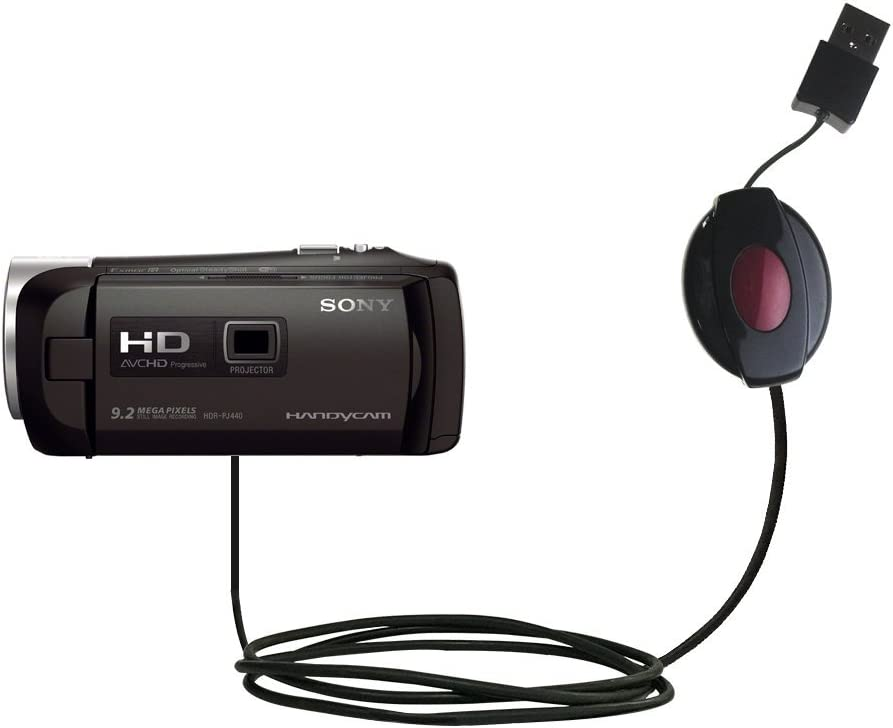 PJ440 and uses TipExchange Compact and retractable USB Power Port Ready charge cable designed for the Sony HDR-PJ440