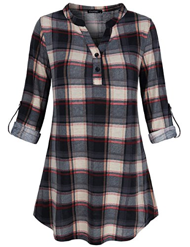(FANSIC Women's Fashion Split V Neck Long Sleve Casual Roll-Up 3/4 Sleeve Plaid Tunic Blouses Tops (Small, Gray and Black))