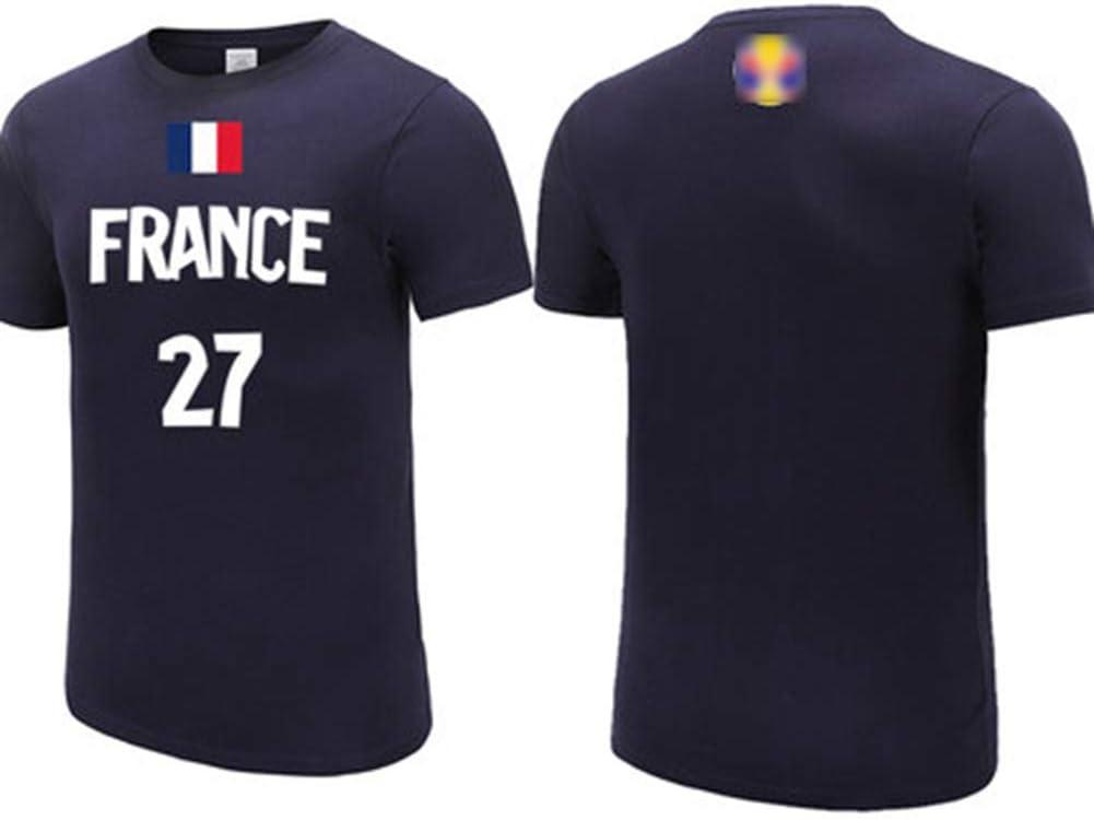 Rudy Gobert No.27 Francia baloncesto equipo nacional T-Camisa azul marino, jerseys de los hombres, casual baloncesto sudadera Uniforme sportwear de 2019 Baloncesto Copa del Mundo,XXL(185~182)CM: Amazon.es: Hogar