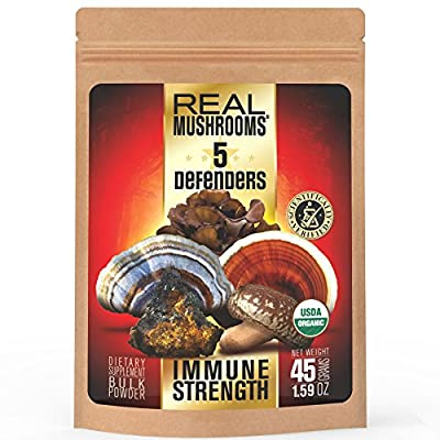 5 Defenders Mushroom Extract Blend by Real Mushrooms - Chaga, Reishi, Shiitake, Maitake and Turkey Tail Mushroom Powder - Organic - Immune Defense - 45g - Perfect for Shakes, Smoothies, Coffee and Tea