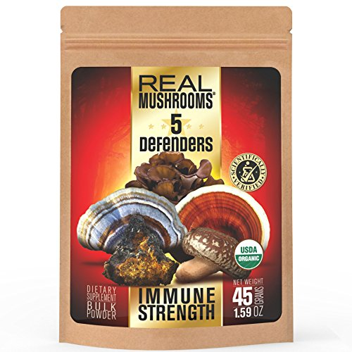 5 Defenders Mushroom Extract Blend by Real Mushrooms - Chaga, Reishi, Shiitake, Maitake and Turkey Tail Mushroom Powder - Organic - Immune Defense - 45g - Perfect for Shakes, Smoothies, Coffee and (Real Turkey)