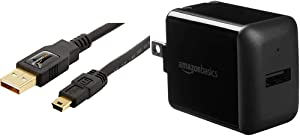 Amazon Basics USB 2.0 Charger Cable - A-Male to Mini-B Cord - 3 Feet (0.9 Meters) & One-Port USB Wall Charger for Phone, iPad, and Tablet, 12W - Black