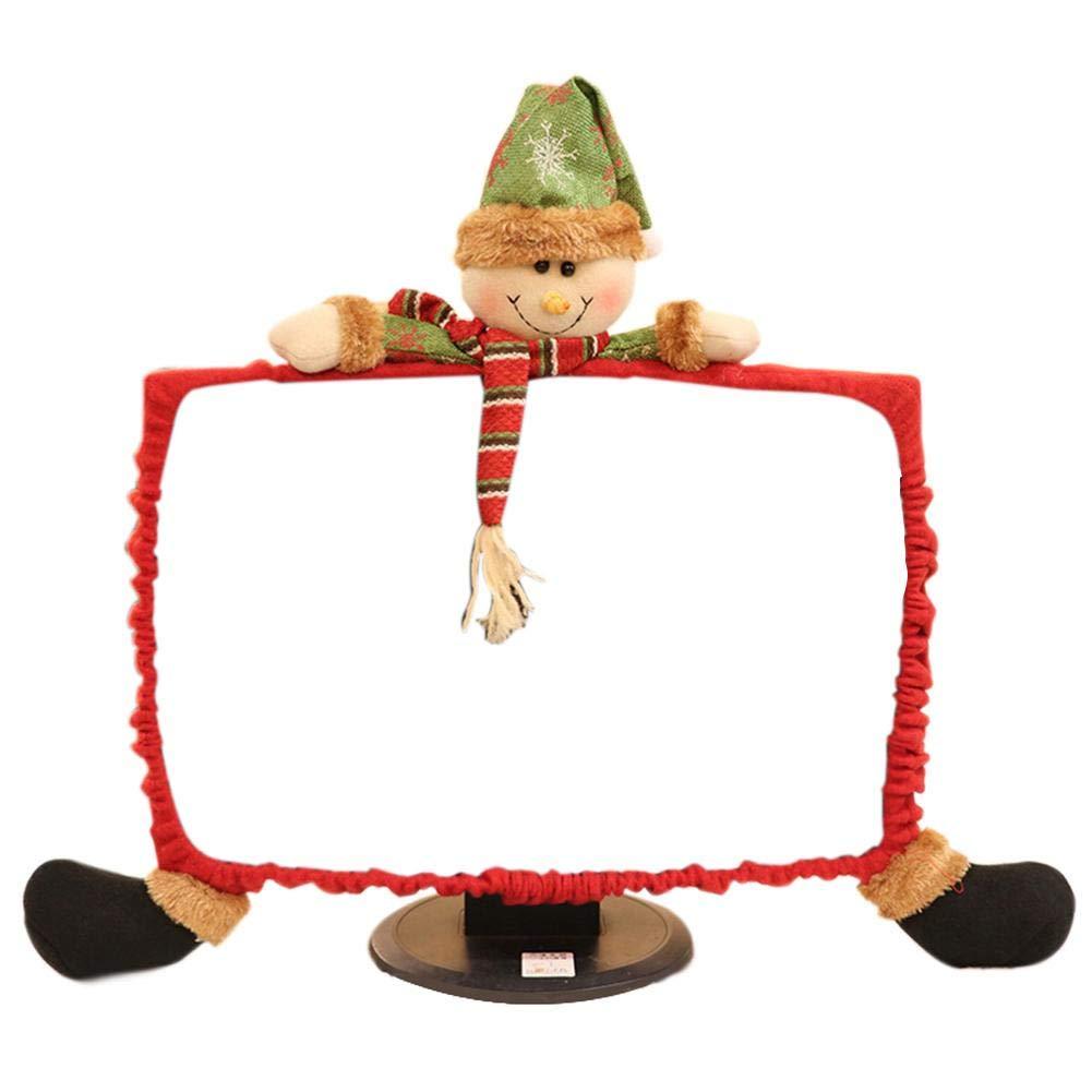 Heitaisi Christmas Decorations Computer Case Cover, Cartoon Santa Claus, Non-Woven Computer Set Cute Christmas Gift