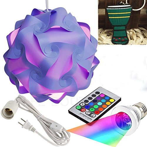 Puzzle Lights with Lamp Cord Kits and Remote Control Bulb, Self DIY Assembled Puzzle Lights Mordem Lampshade IQ Lamp Shades M Size Home Decor Light (Purple Lampshade +Remote Control Bulb+Cord)
