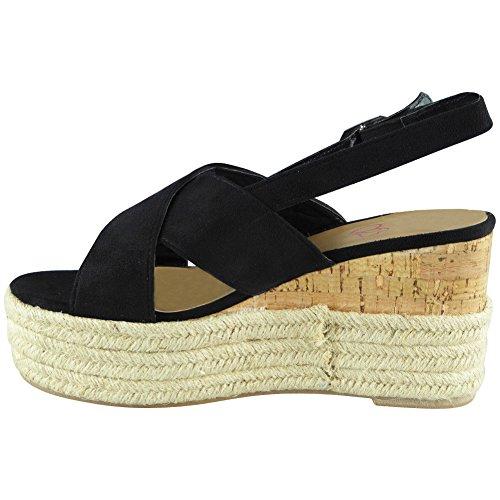 Womens Ladies Cork Hessian Strappy Espadrilles Platform Shoes Wedge Sandals Size 3-8 Black GF84Ogje6V