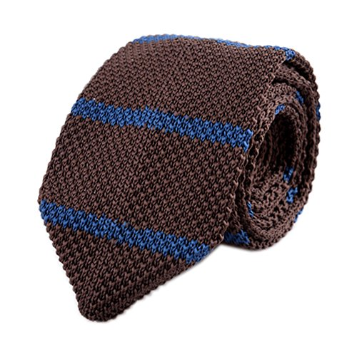 Secdtie Men's Stripe Brown Blue Woven Casual Preppy Stylish Tie Necktie 006
