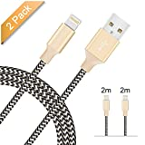 iPhone Cable [2 Pack 2m] Avoalre iPhone Charger Lightning Cable Durable and Fast Syncing and Charging Apple Cord Nylon Braided Charging Wires iPhone Lead Fully Compatible with iPhone X 8 8 Plus 7 7 Plus 6 6 Plus 6S Plus 5S 5 SE 5C, iPad Pro Air, iPad Mini 2 3 4, iPod and More - Gold