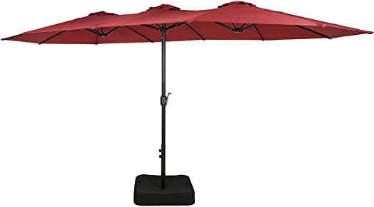 Iwicker 15 Ft Double-Sided Patio Umbrella Outdoor Market Umbrella with Crank, Umbrella Base Included Red
