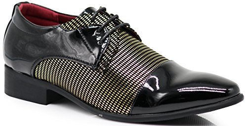 NVK Men's Colonial Spectator Two Tone Cap Toe Oxfords Lace Up Dress Shoes (10, Gold)]()