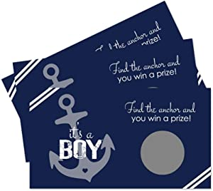 Nautical Baby Shower Scratch Off Game Cards (28 Pack) Ahoy Boy Party Supplies - Raffle Tickets - Drawing Prizes - Whale Sprinkle