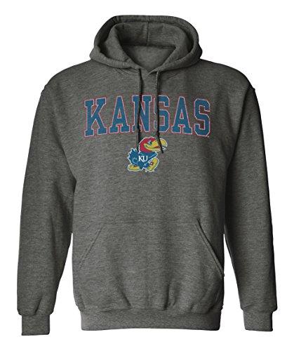 Old Varsity Brand NCAA Kansas Jayhawks Pigment Dye Pullover Hood, X-Large, Dark Heather (Pullover Ncaa Hoodie)