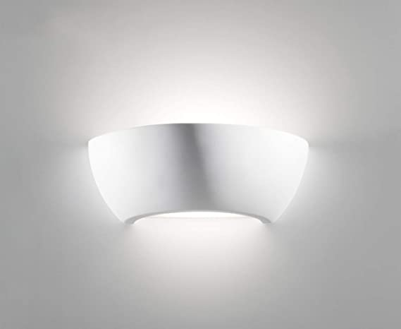 Applique moderno lampada da parete ceramica bianco effetto gesso