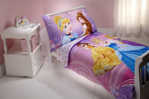 Disney 4 Piece Toddler Set, Princess Dress to - Bedding Princess Sets