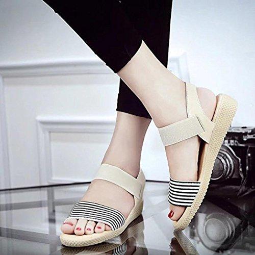 Ouneed® Flip Flops Damen Erwachsene Zehentrenner , Frauen Stripe Sommer Böhmen Süße Sandalen Clip Toe Sandalen Strand Schuhe Beige