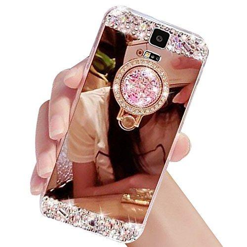 Galaxy Note 5ケース, Xihuaラグジュアリークリスタルラインストーンソフトラバーバンパーキラキラ光るダイヤモンドキラキラミラーメイクアップケースwithリングスタンドホルダーfor Samsung Galaxy Note 5 B074CHJNDB  ローズゴールド