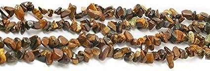 SKYBEADS Cuentas de Gemas Naturales y Cristales Irregulares para bisutería, Suministros de Bricolaje, se Vende por una hebra, Ojo de Tigre Amarillo., 3-8mm Chips