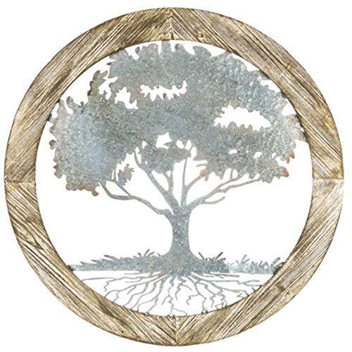 LungMongKol Shop Rustic Carved Brown Circular Wood Sign | Intricate The Tree of Life Carving Distressed Metal Shabby Chic Adorn | Wall Mounted Sculptures Indoor Decor