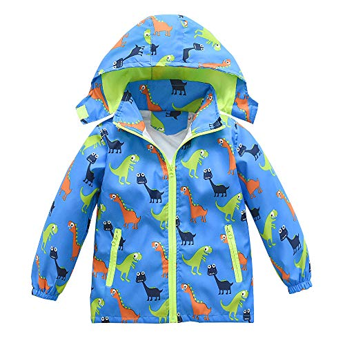 (Boys Girls rain Jacket Dinosaur Zip Lightweight Kids Coat Hooded Waterproof Raincoat Windbreaker)