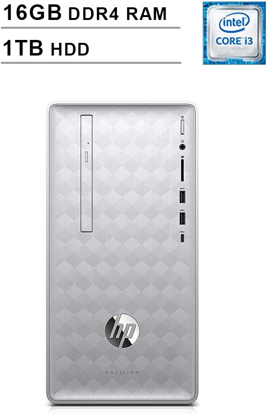 HP Pavilion 590 Desktop (Intel Quad Core i3-8100 3.6 GHz, 16GB RAM, 1TB HDD, Intel UHD Graphics 630, Bluetooth, HDMI, DVD, Windows 10 Home) (Renewed)