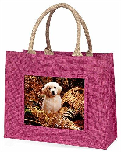 Advanta Golden Retriever Welpe, Love You Mum Große Einkaufstasche Weihnachten Geschenk Idee, Jute, Rosa, 42x 34,5x 2cm