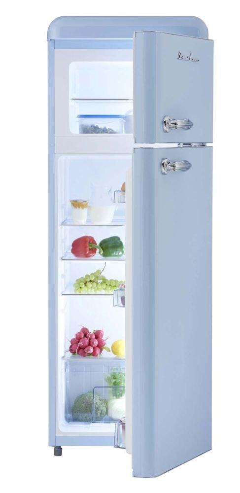 Retro Kühlschrank Hellblau Glanz A+ 208 Liter Kühl /Gefrierkombi