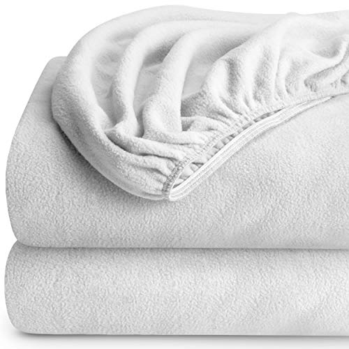 Bare Home Super Soft Fleece Fitted Sheet - Split King Size - Extra Plush Polar Fleece, Pill Resistant - Deep Pocket - All Season Cozy Warmth, Breathable & Hypoallergenic (Split King, White) ()