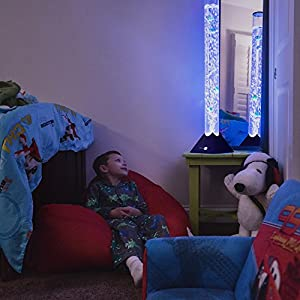 SensoryMoon 3.9 ft Bubble Tube Floor Lamp w 10 Fish, 20 Color Remote and Tall Water Tower Tank is Best LED Aqua Night Light for Kids Bedroom, Autism or Fake Aquarium Column Stand for Living Room Decor