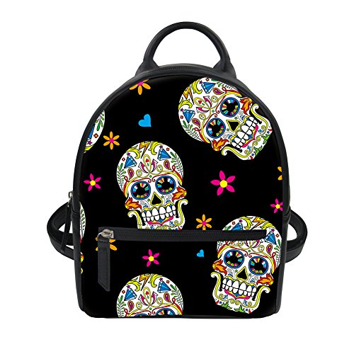 - Sugar Skull Print Women Mini Backpack Purse Rucksack Daypacks for Office College