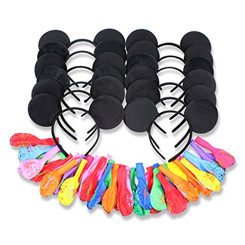 Finex Set of 12 Mickey Minnie Mouse Costume Deluxe Fabric Ears Headband with 24 Balloons ()