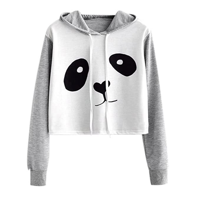 Amlaiworld Sweatshirts Herbst Frauen lose Niedlich Panda Kapuzenpulli Damen  warm kurz bauchfrei Langarmshirts Bluse Mode Pullover 6d223cf3f4