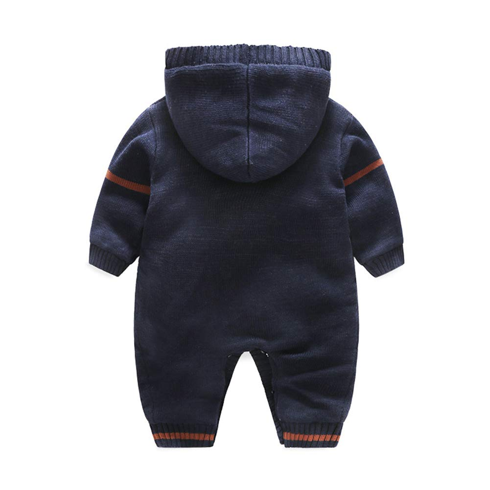 Newborn Baby Romper Winter Christmas Elk Baby Boy Hooded Romper Thick Warm Kids Knitting Jumpsuit