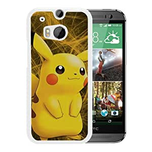 Pokemon Popular Cute and Funny Pikachu 19 White Case with Unique and Attractive Design for Beautiful HTC ONE M8