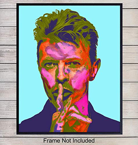 David Bowie Andy Warhol Style Pop Art Print - Contemporary Wall Art Poster - Unique Home Decor for Living Room, Bedroom - Gift for Ziggy Stardust, Music Fans, Musicians - ()