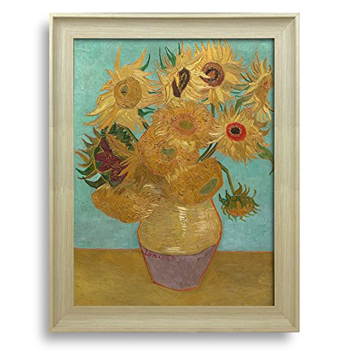 Sunflower by Vincent Van Gogh Framed Art Print Famous Painting Wall Decor Natural Wood Finish Frame