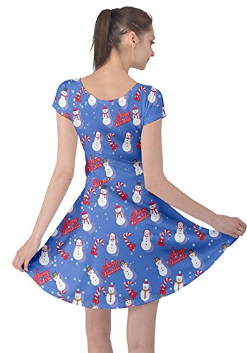 Tree Womens CowCow Xmas Sleeve Vintage Christmas Dress XS Blue Winter Short Snowman Santa Deer 5XL Snowman gtdqFHxd