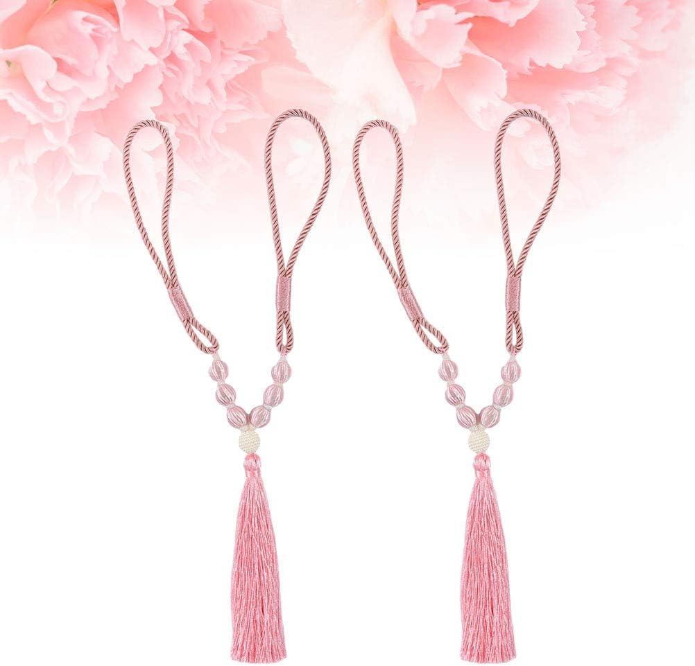 Rose LIOOBO- Embrasse de Rideau avec Pompons d/écoratifs pour Rideaux Polyester 1 Pair