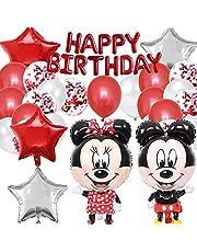 Mickey Mouse Thema Verjaardagsversieringen, Mickey Rode Ballonnen, Minnie Thema Feestartikelen, met Happy Birthday Banner, Mickey Folie Ballon Set, Latex Helium Ballonnen, 22 Stuks, Rood