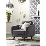 Elle Decor 24 Mid-Century Modern Chloe Arm Chair in Blue Gray