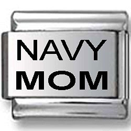 Navy Mom Laser Italian Charm