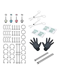 Udalyn 64/66 Pcs 14G 16G Professional Body Piercing Kit Stainless Steel Belly Rings Lip Nose Jewelry
