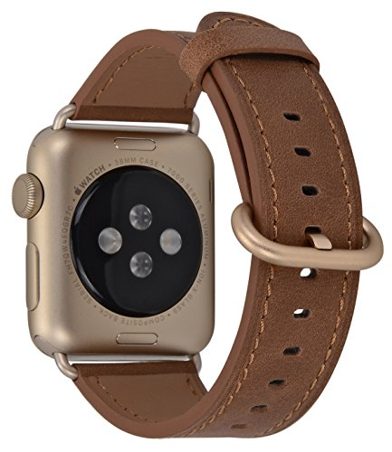 PEAK ZHANG Compatible Iwatch Band 38mm 40mm 42mm 44mm Men Women Genuine Leather Replacement Strap Compatible iWatch Series 4/3 /2/1 (Camel+Series2/1 Gold Aluminum, 38mm 40mm S/M)