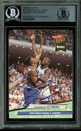 (Magic Shaquille O'Neal Signed Card 1992 Fleer Ultra #328 Rookie BAS Slabbed - Beckett Authentication )