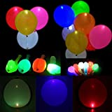 50 Pieces LED Balloons Bright Balloons Set Wedding Party Birthday Party Led Light Balloon Balloons Decoration Red Green Blue Yellow White