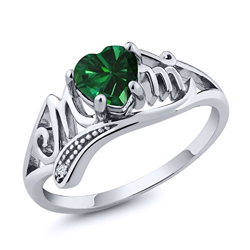 Gem Stone King 0.69 Ct Heart Shape Green Simulated Emerald White Topaz 925 Sterling Silver Ring (Size 9)